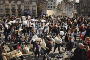 The kick off of the Amsterdam pillow fight - Adam Szuly Photography
