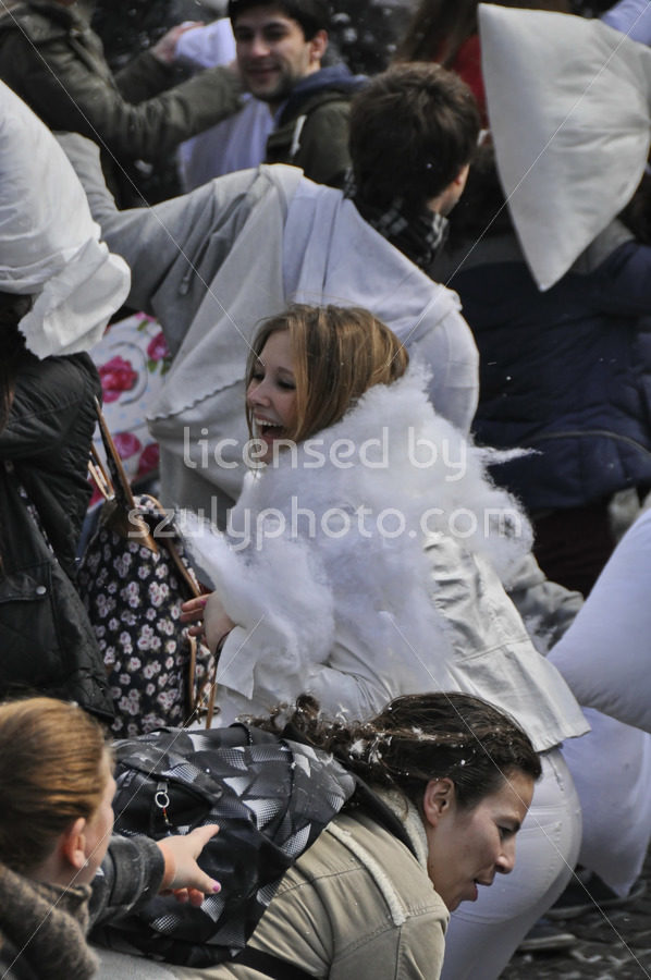 Young woman on Pillow Fight Day in Amsterdam - Adam Szuly Photography