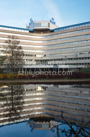 Back portrait view of the KLM Headquarters Building - Adam Szuly Photography