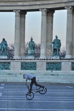 Biker on Heroes Square - Adam Szuly Photography