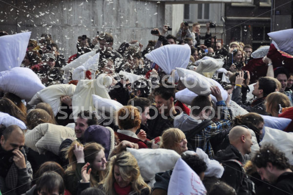 Close-up view of the pillow fight - Adam Szuly Photography