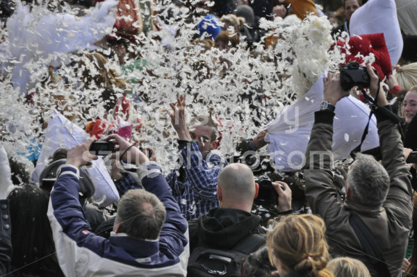 Flying feathers on Pillow fight day - Adam Szuly Photography