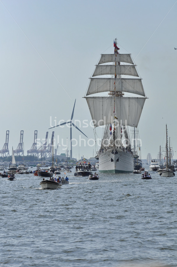 Frontal view of the Esmeralda tall ship on the Ij river - Adam Szuly Photography