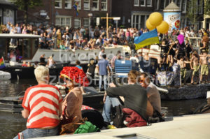 Gay pride spectators on the canal - Adam Szuly Photography