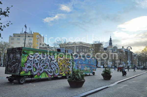 Graffiti decorated food carts on the Nieuwmarkt - Adam Szuly Photography