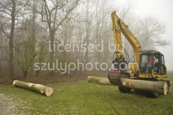 Komatsu heavy machinery carrying wood log - Adam Szuly Photography