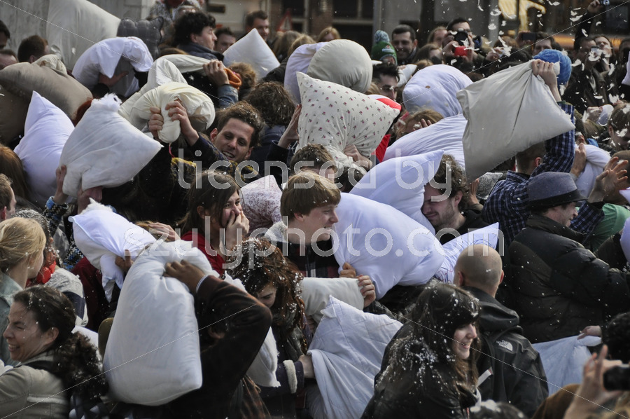 Pillow fight participants in Amsterdam - Adam Szuly Photography
