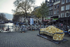 Tiled sitting bench on the Nieuwmarkt - Adam Szuly Photography