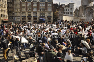 Wide angle view of the Amsterdam pillow fight - Adam Szuly Photography